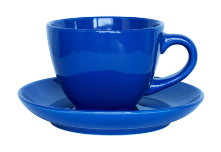 household objects: empty blue cup and saucer isolated on white with clipping path
