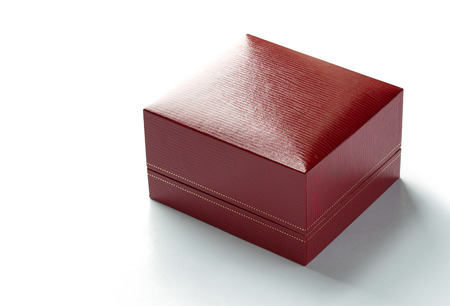 red box: red leather box isolated on white background