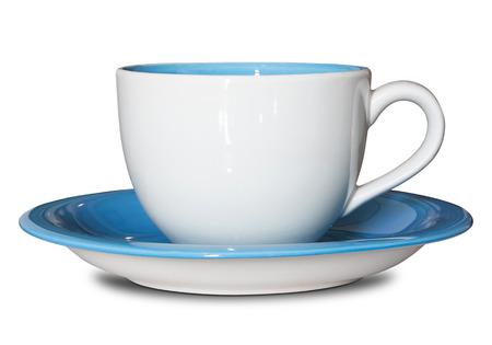 빈 컵과 접시 클리핑 패스와 함께 화이트 절연