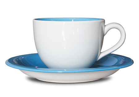 empty cup and saucer isolated on white with clipping path