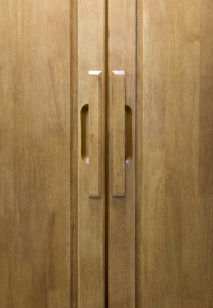 door handle: wood door handle Stock Photo