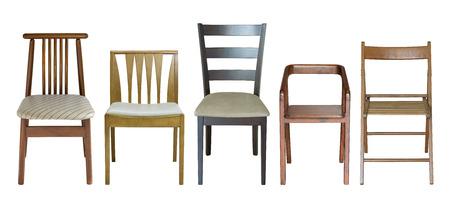silla de madera: conjunto de silla de madera aislado en blanco con trazado de recorte