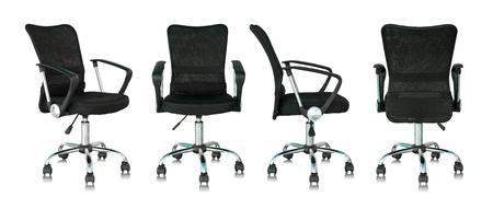 Ensemble de chaise de bureau noir isolé sur fond blanc