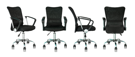 set of black office chair isolated on white background Imagens
