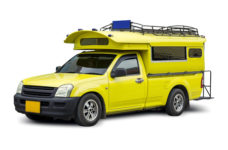 yellow minibus travel isolated on white background with clipping path