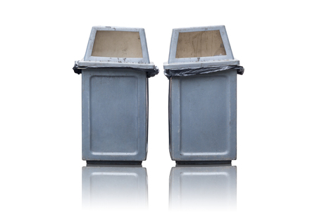 two garbage bin isolated on white background