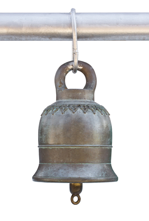 Old bell isolated on white background with clipping path, Thai style in temple 版權商用圖片