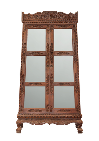 antique wooden cabinet with glass doors isolated on white with clipping path