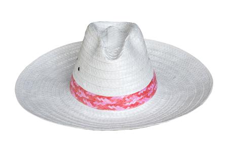 white straw hat isolated on white background Stockfoto