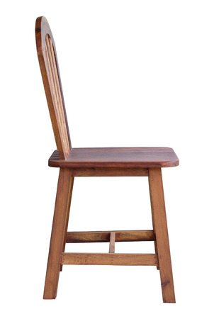 old wooden chair isolated on white with clipping path