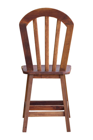 back view of old wooden chair isolated on white with clipping path Stockfoto