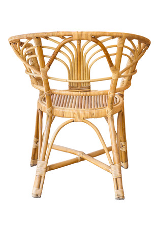 back view of wicker chairs isolated on white with clipping path