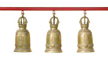 three piece bronze bell isolated on white background with clipping path, thai style in temple Stockfoto