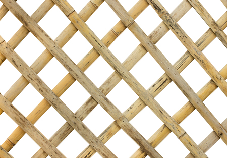 bamboo fence or cage on white background with clipping path
