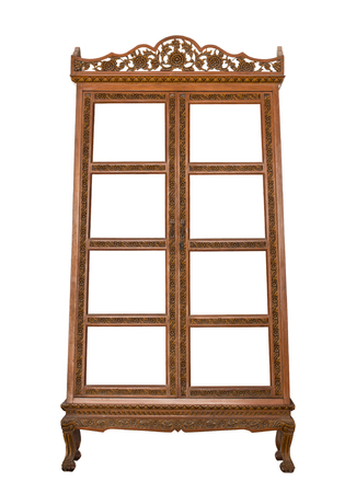 antique wooden cabinet isolated on white with clipping path Stockfoto