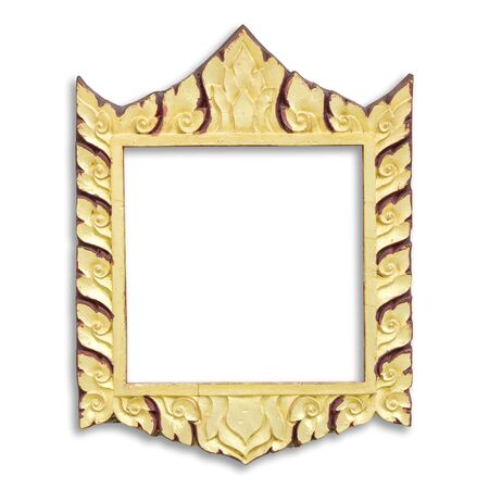 frame with thai style pattern isolated on white background, in thailand temple