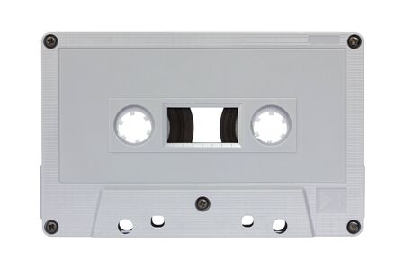 Gray cassette tape isolated on white with clipping path