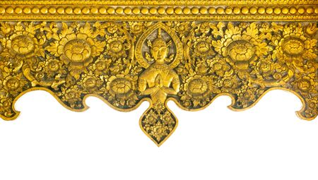 Pattern of carved on golden metal plate design of native wall, Thai style in the temple, isolated on white background Stockfoto - 133101271