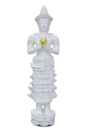 The standing white buddha statue isolated on white background with clipping path Stockfoto - 133101277