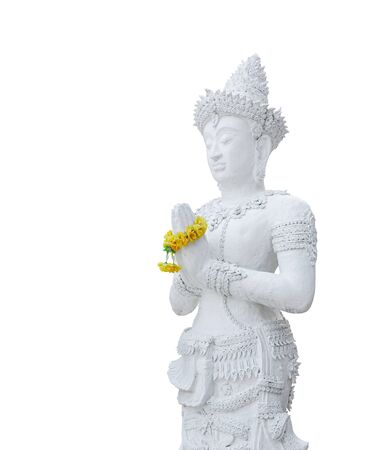 The standing white buddha statue isolated on white background with clipping path Stockfoto - 133101350