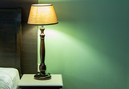 Table Lamp on Bedside in The Bedroom