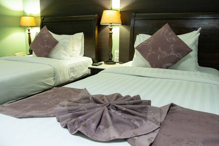 Double Bed with Table Lamp in The Bedroom Interior