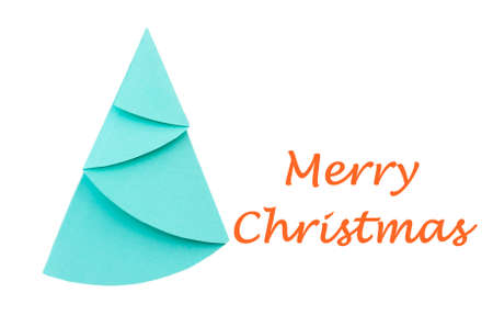 wording: Origami Christmas tree with Merry Christmas wording on white background
