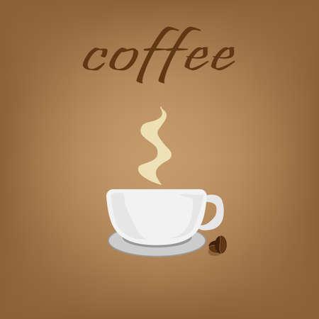 Coffee shop logo and menu design vector brochure template. Coffee cup silhouette.