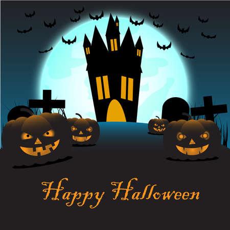 Halloween pumpkins and dark castle on blue Moon background Çizim