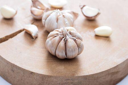 garlics on wooden