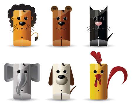 Animals - lion,bear, cat, elephant, dog, chicken