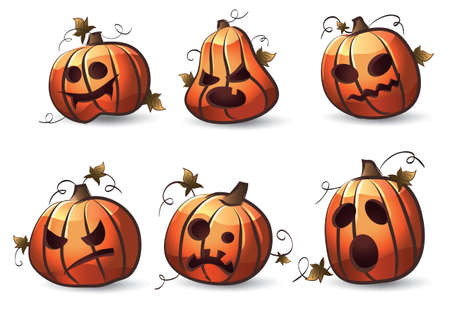 zucche halloween: Zucche di Halloween Vettoriali