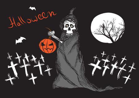 Death with pumpkin Illustration