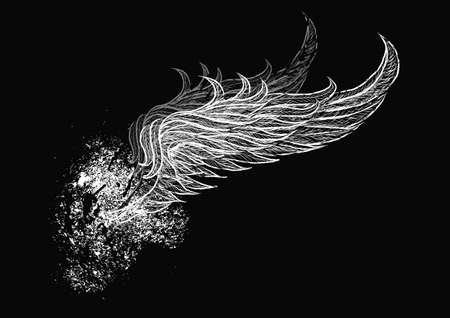 grunge wings: Teschio con le ali Vettoriali