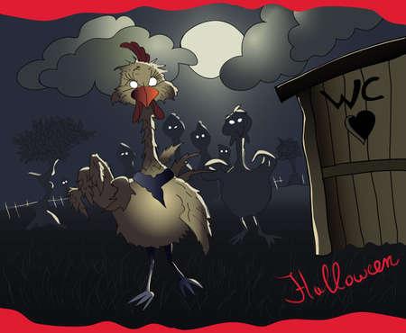 Halloween chicken zombies
