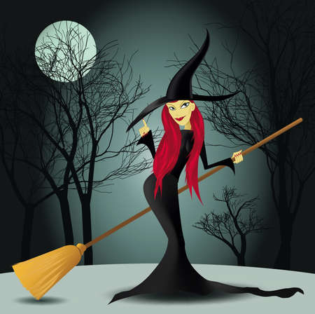 escoba: Bruja de Halloween con árboles y la Luna en un fondo Vectores