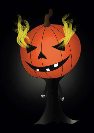 Jack O Lantern with flames from his eyes