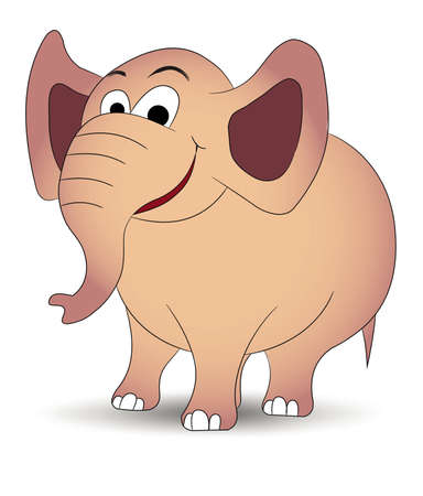 Little elephant standing and smiling  Illustration
