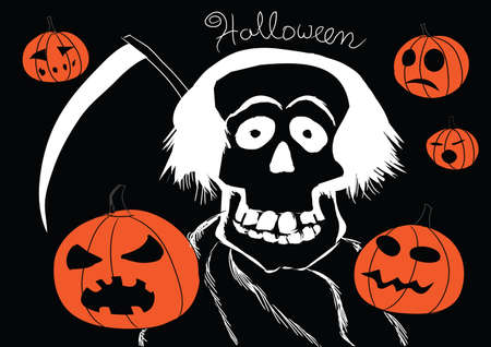 Death with pumpkins Halloween background fully editable
