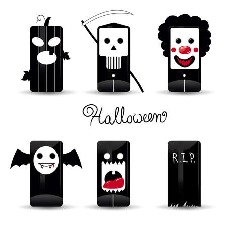 cartoon vampire: Halloween  icons pack illustration