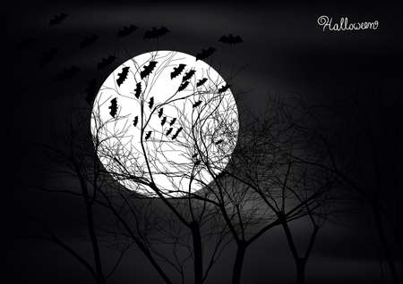 Dark Halloween scene with trees,moon and bats