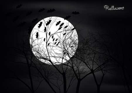 Dark Halloween scene with trees,moon and bats