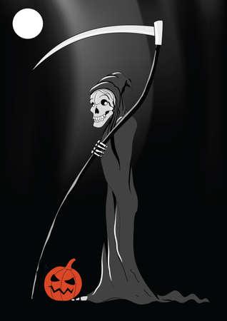 Death with pumpkin Halloween black background