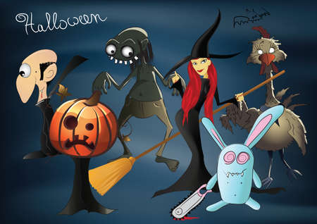 Halloween characters - pumpkin, witch, zombie, dracula, zombie chicken, evil rabbit illustration.
