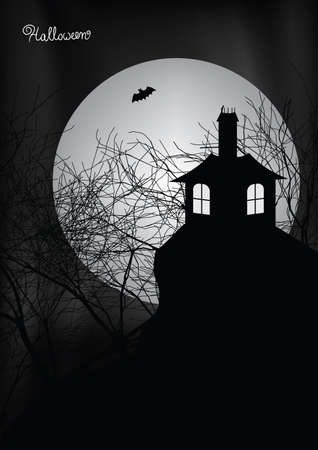 Halloween scene with haunted house, trees and bat illustration