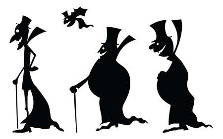 Dracula black silhouettes illustration