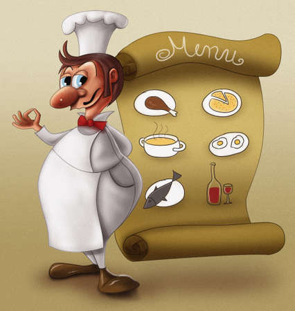 meat soup: Chef in front of menu Stock Photo