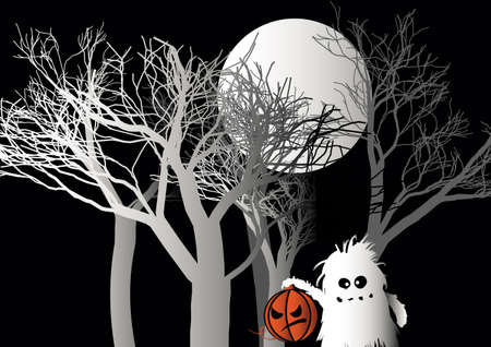 Halloween monster holds pumpkin in forest vector illustration