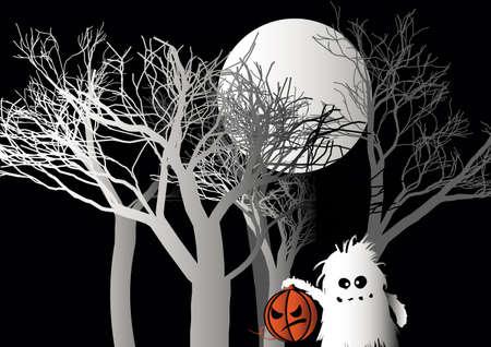 Halloween monster holds pumpkin in forest vector illustration