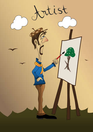 Artist with beard painting a tree vector illustration